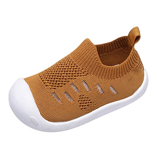 Toddler Baby Boys Girls Casual Shoes Walking Shoes Kids Candy Color Mesh Sport Running Shoes 0-4 Years Old (9-12 Months, Yellow)