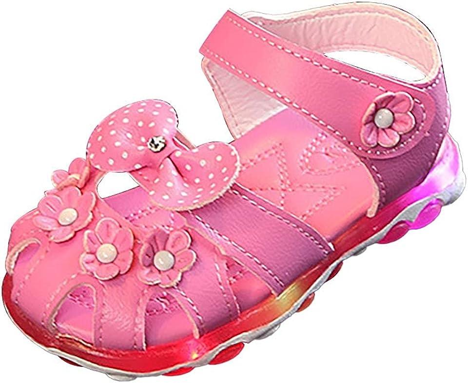 Sandalen Mädchen LED Leuchtende Sandalen Baby Sommer Anti Rutsch Sneaker Leuchten Strandschuhe Atmungsaktive weichem Boden Mädchen Sandalen Einfarbig Flats Niedlich Prinzessin Schuhe