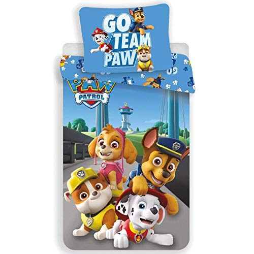 Kids Paw Patrol - Parure da letto 100% cotone, copripiumino 140 x 200 cm + federa