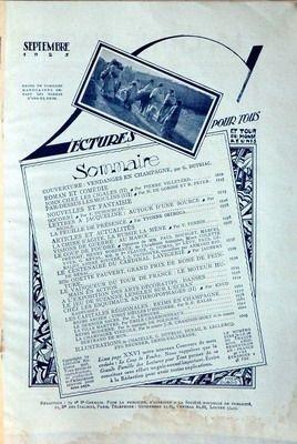 LECTURES POUR TOUS du 01/09/1925 - G .DUTRIAC - JOHN CHEZ LES CIGALES PAR VILLETARD - H. DE GORSE ET R. PETER - SOCORRI PAR DUHOURCAU - NICOLE - Y. OSTROGA - LA CHINE S'AGITE - LA RUSSIE LA MENE PAR FORBIN - P. BUORGET - LE CENTENAIRE DU CARDINAL LAVIGERIE PAR DE BENAC - MLLE ODETTE PAUVERT - PRIX DE ROME - ARTS DECORATIFS - DANSES - CHEZ LES ESQUIMAUX ANTHROPOPHAGES - REIMS EN CHAMPAGNE - B.E. KALAS - LENOTRE - CHARBONEAUX - J.R. CHANDON-MOET.