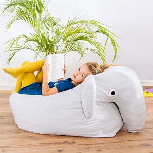 Smoothy Kindersitzsack Elefant - Tierform Sitzsack für Kinder - Kindermöbel XXL Stofftier aus Baumwolle - 5