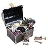 SPUNIQUE Kids Vintage Pirate Treasure Chest with Pirate Role Playing Accessoires of Pirate Water Bottle,Telescope,Pirate Coins and Jewels,Winner Badges,Earrings and Rings,Eyepatch,Compass