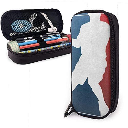 Basketball-Spieler Sterne niedlichen Stift Federmäppchen Leder Tasche Federmäppchen mit doppeltem Reißverschluss Halter Box für Schule Büro Mädchen Jungen Erwachsene