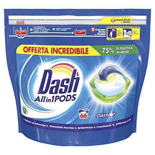 Dash PODS 3in1 Classico Pods per Bucato 66 Lavaggi, Pulito, Anti-Macchia, Brillantezza