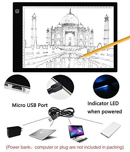 Light Box for DIY 5D Diamond Painting Weeding Vinyl, Stepless Dimming LED Tracing Pad Tracer Board for Applique Quilting Animation Cartoon, Tattoo Craft Projects, Calligraphy Etc (A4 Size)