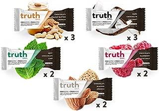 Truth Bar (Prebiotic + Probiotic), 5 Flavors, 12 Bars (Variety Pack) Low Sugar, Diet Support, Gluten Free, High Fiber, Kosher, Soy Free, Non-GMO Nutrition Snack Bar with Premium Dark Chocolate