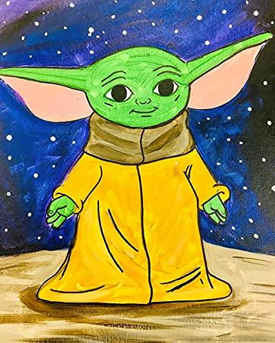 ESHUJIA Kit de pintura al óleo para adultos, para niños, principiantes, bebés, Yoda (28308, 40,6 x 50,8 cm, sin marco)