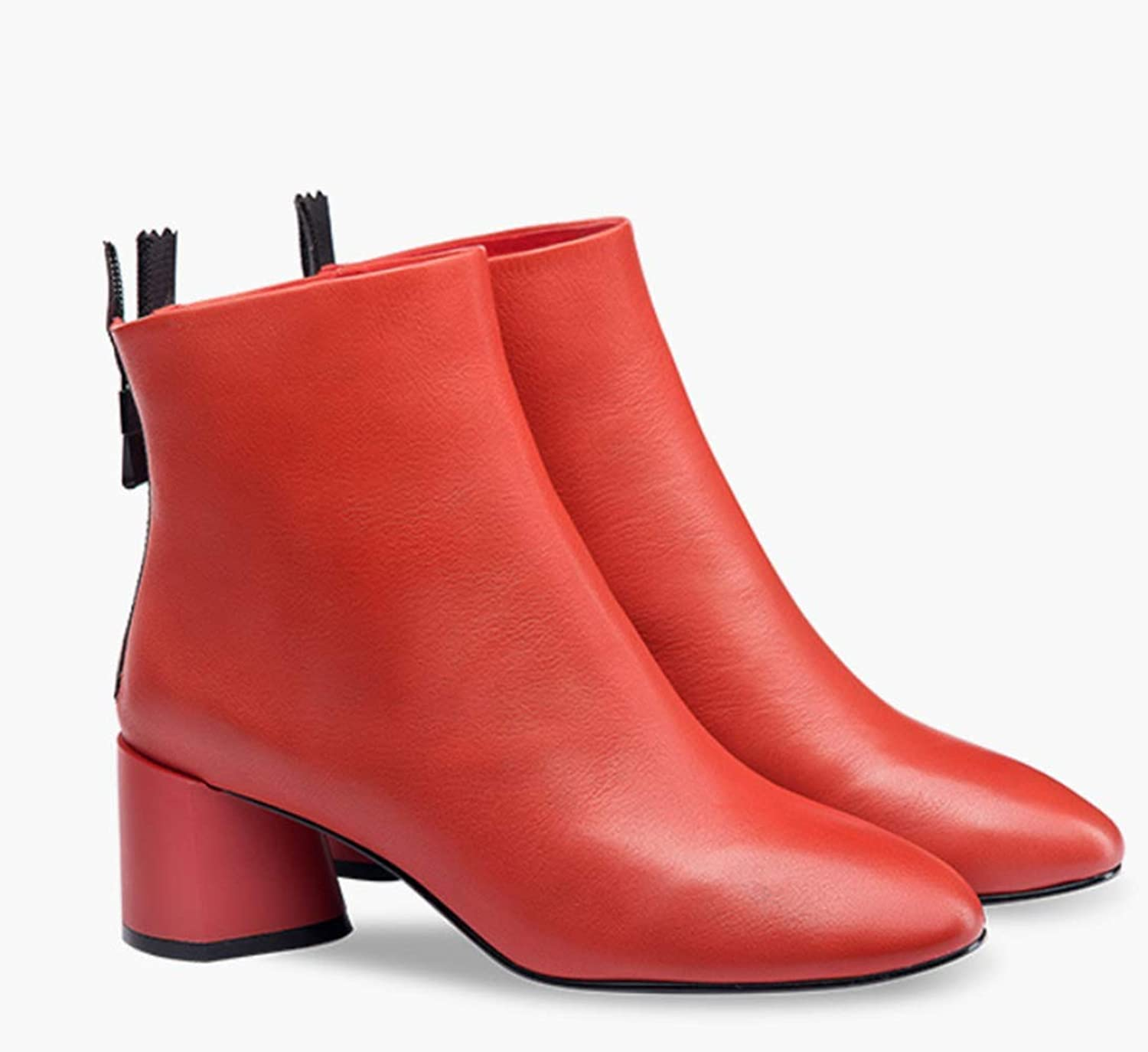 Shiney Women's Genuine Leather Booties Female 2018 New Round Head High-Heeled Single Boots Chunky Heel Short Tube Fashion shoes