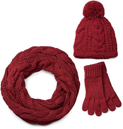 styleBREAKER Schal, Mütze und Handschuh Set, Zopfmuster Strickschal mit Bommelmütze und Handschuhe, Damen 01018208, Farbe:Bordeaux-Rot / Loop Schlauchschal (One Size)