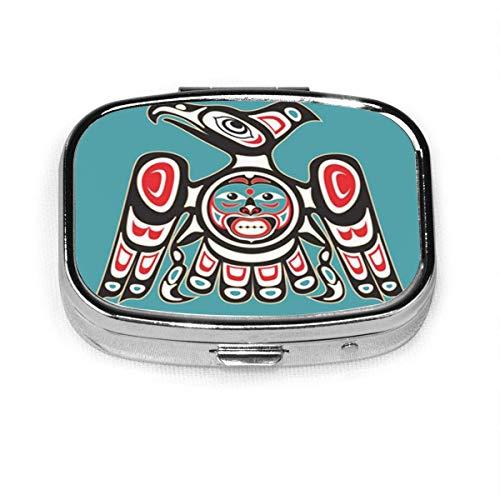 Haida Adler Indianer Thunderbird Case Portable Mini Container Organizer with 2 Compartments Square Pill Box