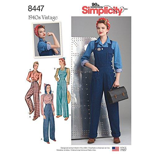 Simplicity Schnittmuster 8447 U5 Damenhose, Latzhose und Blusen, 1940er-Jahre, Gr. 42-50