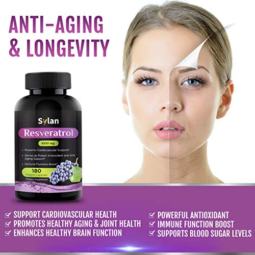 51yo53eC3pL - Sylan Trans Resveratrol 1000mg 180 Capsules Antioxidant Anti Aging Supplement Supports Heart Health Natural Weight Loss Joint Support Brain Function & Immune System Health Veggie Non-GMO Made in USA