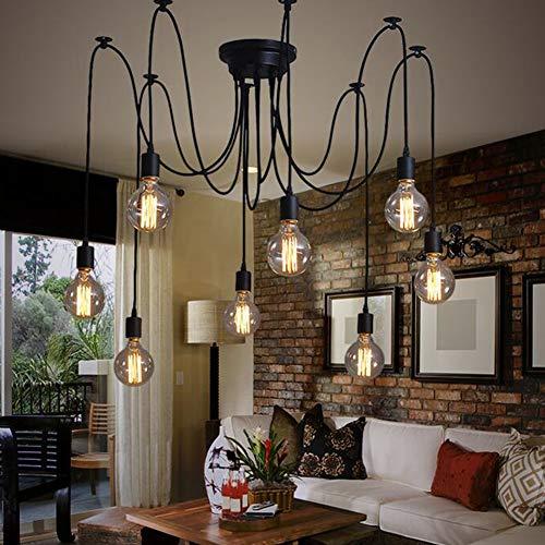 Oursun Kronleuchter Industrie Pendelleuchte Vintage Retro Spinne Lampe Hängend Deckenleuchte Hängelampe Pendellampe für Schlafzimmer Wohnzimmer Esszimmer (8 lights) - 3