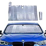 PowerTiger Auto Sonnenschutz für Frontscheibe, Aluminiumfolie Windschutzscheibe Sonnenblende Faltbare Einfache Lagerung, 128 * 67 cm für Mittelklassewagen