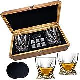 Whiskey Stones Glas Geschenkset – 2 klassische Whiskygläser, 6 Whisky-Steine, 2 Untersetzer, luxuriöse Holzbox, ideal für Scotch,Tolles Geschenk für Männer, Väter