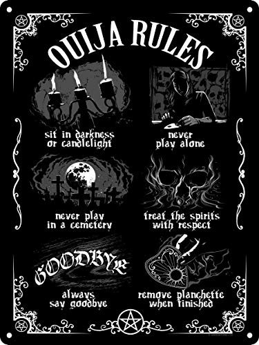 Tin Sign Ouija Board Rules Metal Plaque 12x8 Inches