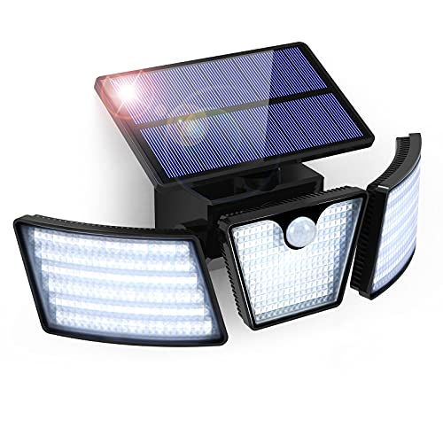 GolWof Luz Solar Exterior Sensor de Movimiento 265 LED 3 Cabezas 270º lluminación Lampara Solar para Exterior IP65 Impermeable Foco Solar Exterior para Frente Jardin Garaje Camino