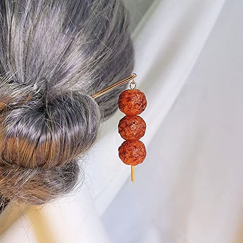 Funny BBQ Hair Clip for Women Super Realistic Barbecue Barrettes Novel Hair Accessories for Girls Kids Party Photo Props(Octopus Ball)