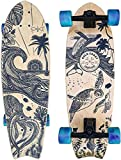 "Surf Skate 30"" x 9.5' Carver, Surf Trainer, Surf Skateboard - Wanderlust Edition by Gold Coast Longboards - Detailed Mandala Art Inspired by Travel and Nature, 65mm Wheels, ABEC9 (Blue Swirl Wheels)"