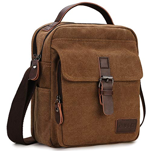 RAVUO Small Messenger Bag,Unisex Casual Canvas Satchel Vegan Leather Shoulder Bag Crossbody Wallet Phone Bag for Men and Women Coffee, s, Coffee