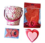 Spa Bath Gift Set with Heart Shaped Sponge, Rose Massage Glove, Bath Bomb in Reusable Pretty tin Pail