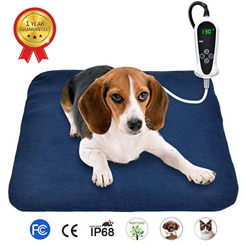 RIOGOO Almohadilla térmica Mascotas, Almohadilla eléctrica para Perros y Gatos Alfombrilla de Calentamiento Interior con Apagado automático 45x 45cm (Europeo)
