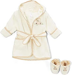 Spasilk 100% Cotton Hooded Terry Bathrobe with Booties, Brown Bear, 0-9 Months