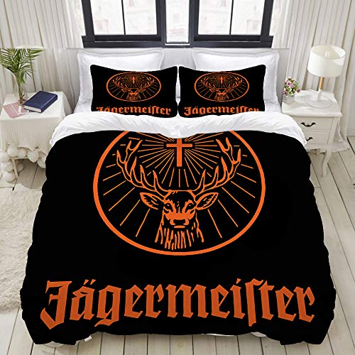 SnowXXL Bettwäsche-Set, Mikrofaser,Jägermeister Logo,1 Bettbezug 160 x 200cm + 2 Kopfkissenbezug 80x80cm