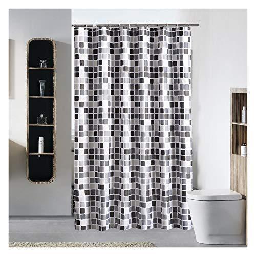 Douchegordijn met witte plastic Haken waterafstotende stof Extra lang Douchegordijnen Liner for badkamer, wasbaar in de machine en Zwaargewicht Hem (200 x 200 cm)
