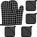 2 Pieces Christmas Oven Mitts and 4 Pieces Pot Holders Oven Kitchen Non-Slip Gloves and Hot Pads for Cooking Baking Heat Resistant Hand Protection