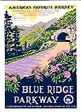 MAGNET 3x4 inch Vintage Blue Ridge Parkway Sticker - rv national park tn art bumper us Magnetic vinyl bumper sticker sticks to any metal fridge, car, signs