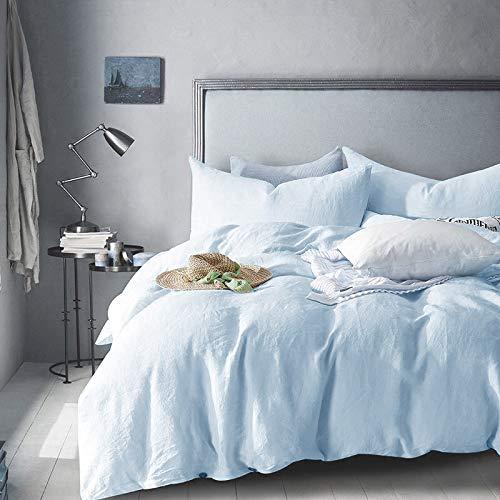 Merryfeel 100% Linen Duvet Cover Set - King - Light Blue