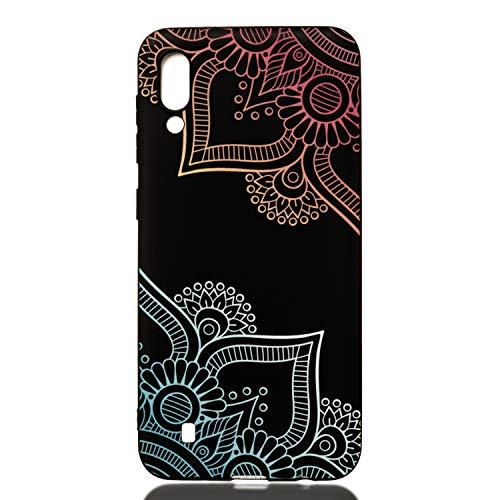 ChoosEU Compatible avec Coque Samsung Galaxy A10 2019 Silicone Souple Noir Motif pour Filles Femmes Homme Etui Soft Étui Ultra Fine Antichoc Housse Mince Case Protection - Mandala