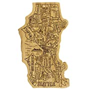 Celebrate life in The Emerald City with this beautiful bamboo cutting and serving board in the shape of the city of Seattle Fun, whimsical laser-engraved artwork calls out all the unique neighborhoods that make up Seattle: Pike Place to Capitol Hill,...