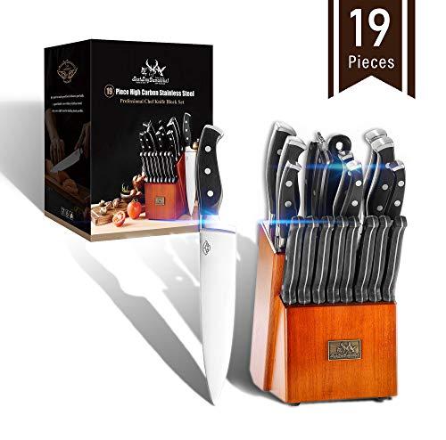 Best.Buy.Damascus1 19 Pcs Premium Knife Block Set Hc German Stainless Steel Cutlery Knives Block Set Chef Knife Set Home&Kitchen Knife Set Chef Professional Knife Block Sets & 8 Steak Knives Set
