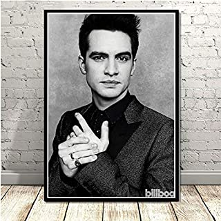 CHQUS Black and White Brendon Urie Panic at The Disco Pop Star Music Wall Art Painting Canvas Wall Picture Room Home Decoration no Frame 40x60cm
