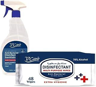 V Care Anti-Bacterial Disinfectant Multi-Purpose Spray, 750 ml + Multi Purpose Wipes, 48 Sheets
