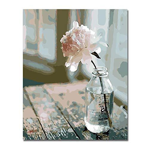 Kkooa Elegante Bloemen Schilderen Op Nummer Abstract Rose Olieverfschilderij Vaas Acryl Home Decor 40X50Cm Geen Frame
