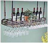 CGF- Rejilla para Copas para el hogar, decoración Creativa Europea, Colgador para Copas de Vino, Rejilla para Copas de Vino, Rejilla para Bar Invertida (Color: marrón, tamaño: 120 * 35 cm)