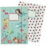 2 carpetas escolares para niños DIN A4 | motivo sirena - carpeta de correo para alumnos de primaria - coleccionista de cuadernos - grapadora de silla - juego número 1