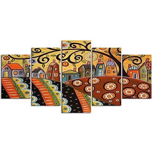 YOUMEISU Cuadro en Lienzo,5 Partes Pintura al óleo Pintura de Paisaje Pueblo Sol pájaros Pintura ingenua Casas árbol Print de Arte de Pared Decoración del Hogar para el Cartel Modular