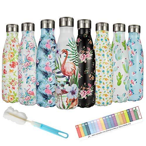 Botella Agua Acero Inoxidable 500ml, Botella Termica Reutilizable - Enfriamiento Las 24...