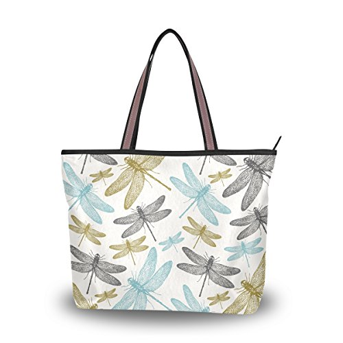 Shoulder Bag Large Beach Travel Tote Bag Fern Botanical Dragonfly Printed Handbags with Handle Top Zipper Closure