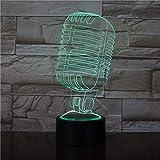 Luz Nocturna Led-Visión 3D-Siete Colores-Mando A Distancia-Modelo De Micrófono Luces De Ilusión Visual Luces Nocturnas Luces Nocturnas Para Café Bar Decoración Concierto Regalos Venta Directa