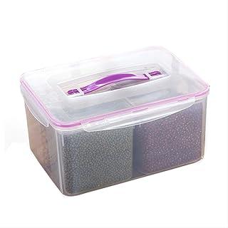 HHQSC Fresh Box,Large Preservation Box, Four Grid Sealed Box, Dry Storage Box, Refrigerator Frozen Grain Box, Food Microwa...