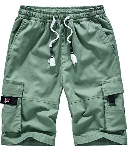 Fanient Herren Kurze Stoffhose aus 100% Baumwolle Regular Fit Kurze Hose Shorts Moderne Baumwollhose Kurze Freizeithose Männer Grün