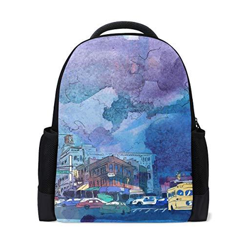 DEZIRO Polyester City Aquarelle Sac d'école pour Femme