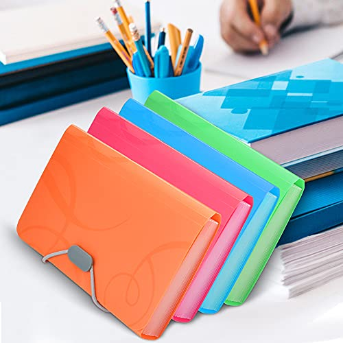 ANTHYTA 4 Pack Expanding File Organisers A6 Size Accordion Folder 13 Pockets Filing Boxes Document Organiser Plastic Wallets Receipt Organiser for Filing Folders and Storage Files, 4 Colours