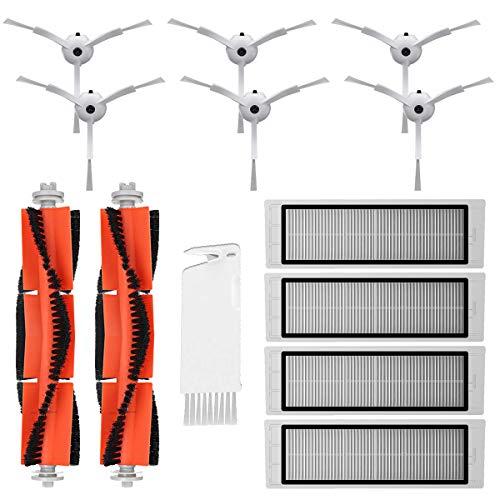 MIRTUX Kit de repuestos Xiaomi Mi Robot 1 y 2. Pack de Accesorios de Recambio para Robots aspiradora Xiaomi Mi Vacuum Roborock S50 S51 con Cepillo Lateral, Rodillo Central, filtros y Herramienta