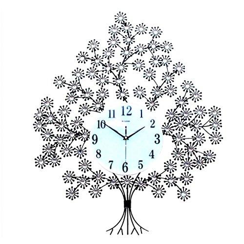 Jack Mall Horloge Murale en Cristal de Diamant Moderne, Forme d'arbre de Luxe Horloge Murale Horloge en métal Silencieux pour Salon, Chambre à Coucher, décoration Murale Art Mural (Noir)